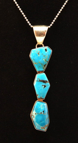 Native American Crafted Turquoise and Sterling Silver Pendant