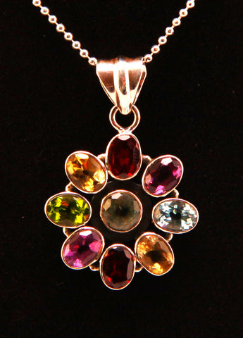 Starburst Pattern Colored Quartz Sterling Silver Pendant