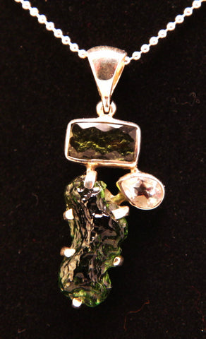Moldavite and White Topaz Sterling Silver Pendant