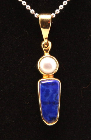 Lapis Lazuli and Freshwater Pearl 18 Karat Gold Layered Brass Pendant