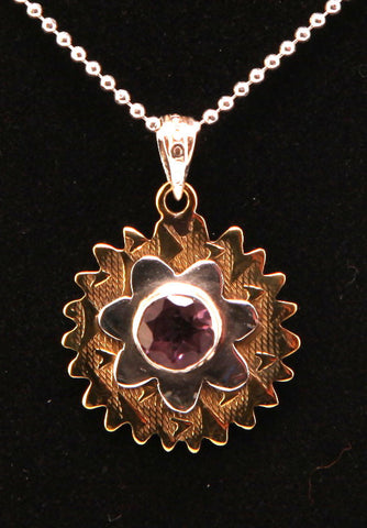 Amethyst Sterling Silver and Hammered Brass Pendant