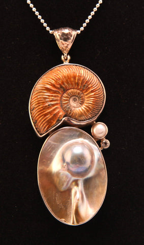 Freshwater Pearl, Topaz, and Fossil Ammonite Sterling Silver Pendant