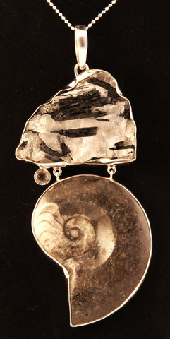Tourmaline, Ammonite, and Quartz Crystal Sterling Silver Pendant