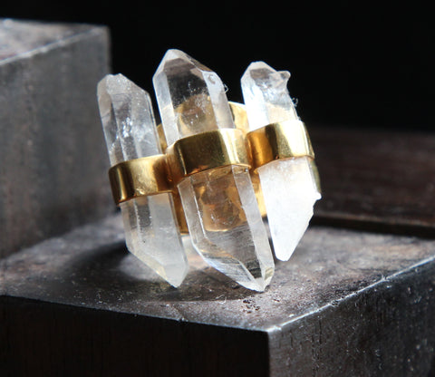 Quartz Points in Gold Vermeil Ring          Size 9