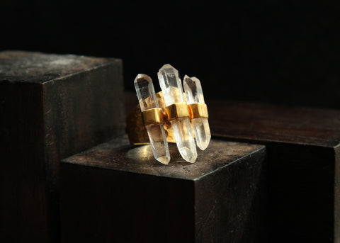 Quartz Points in Gold Vermeil Ring          Size 7