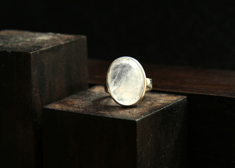 Moonstone and Sterling Silver Ring   Size 5