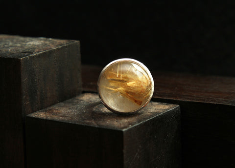Golden Rutilated Quartz in Sterling Silver Ring      Size 7