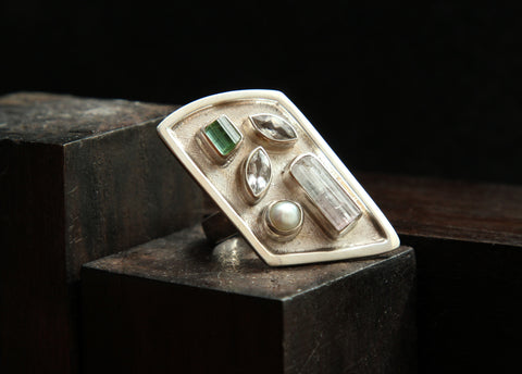 Tourmaline, Pearl, and White Topaz Sizable Sterling Silver Ring