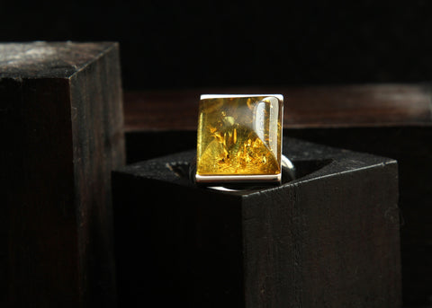 Baltic Amber and Sterling Silver Ring Size 8