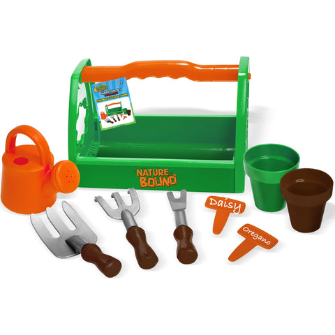 Garden Tool Set with Planters, Water Bucket, Rakes, Caddy, 9-Piece Set