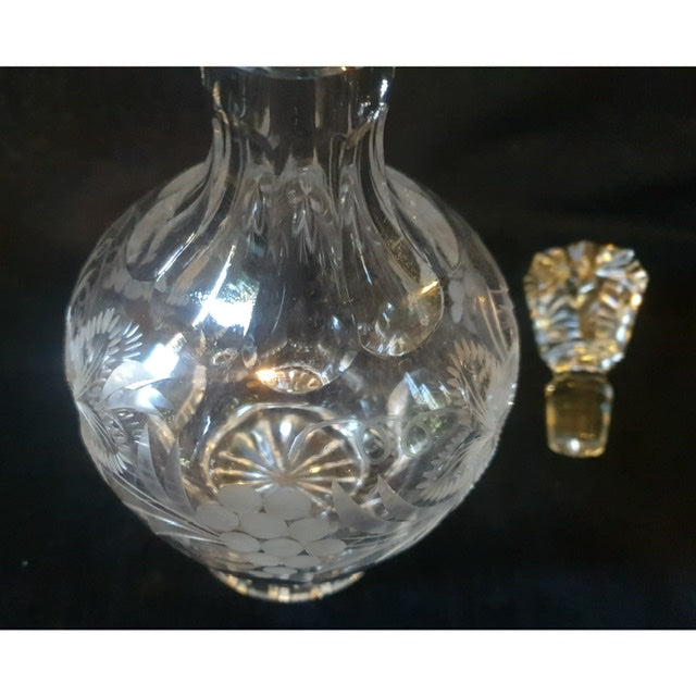 Vintage Cut Glass Silver Decanter