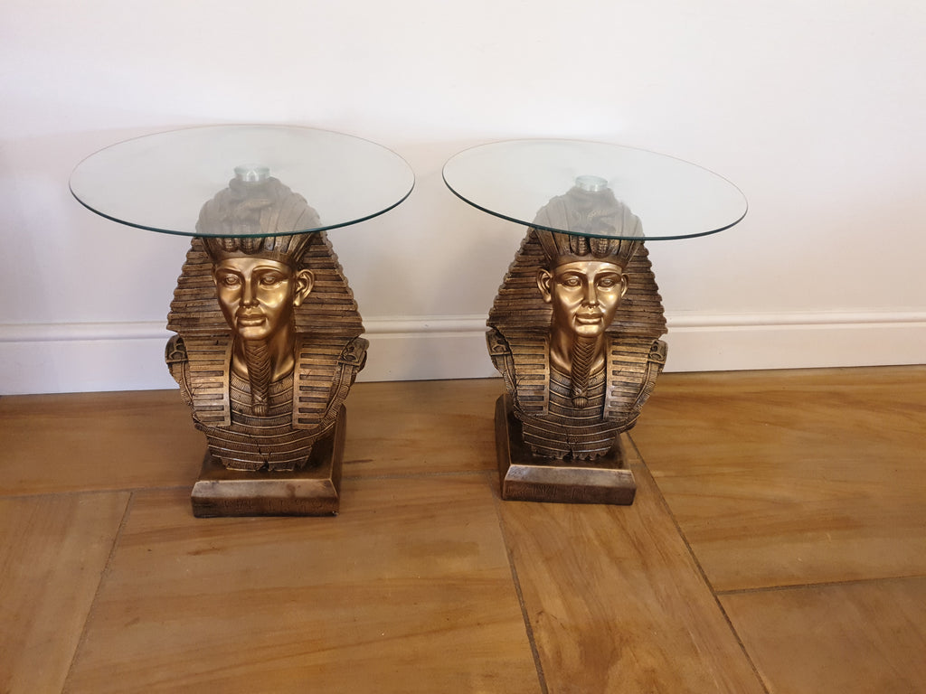 A Pair Of Egyptian Style Glass Top Coffee Tables