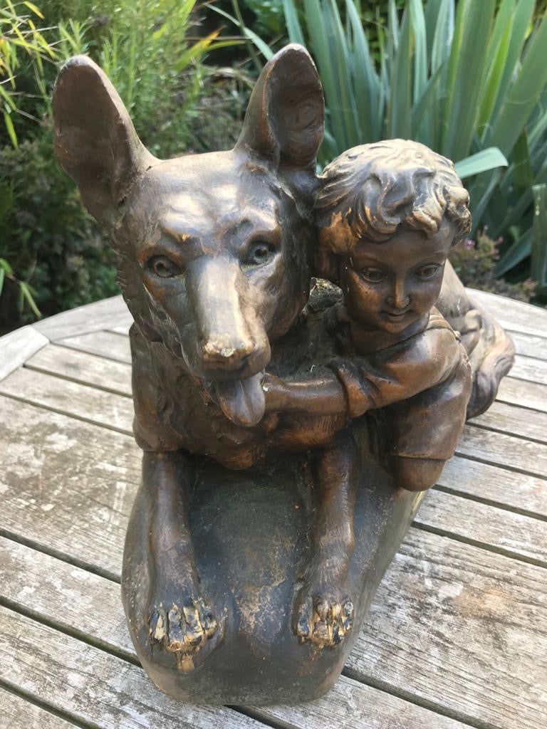 Cast Statue Of Child And Dog