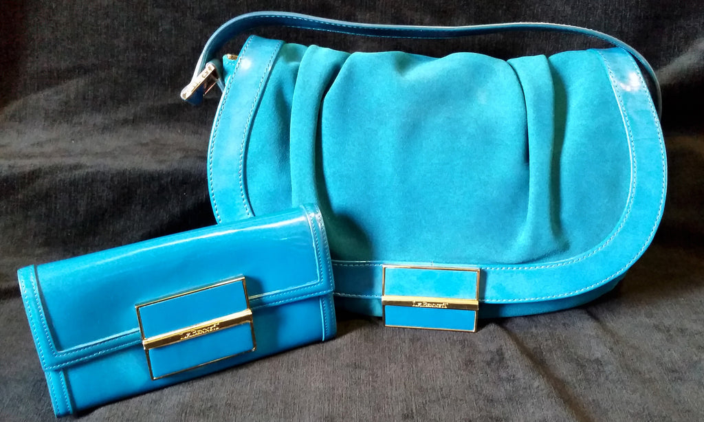 Suede & Leather Bag With Purse