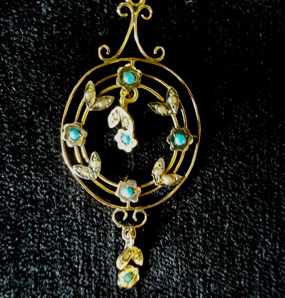 Victorian Gold And Turquoise Pendent.