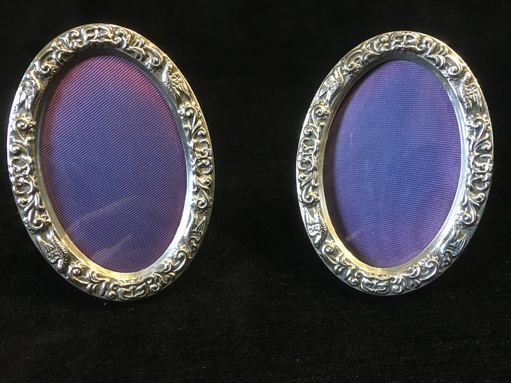 Pair Oval Silver Frames