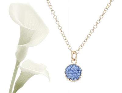 Dainty Blue Druzy Necklace