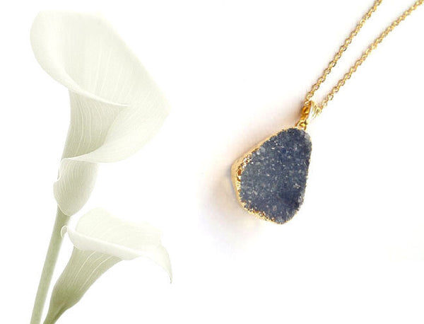 Dove Druzy Necklace