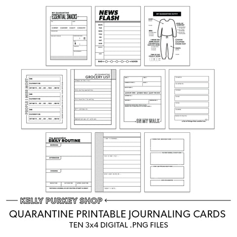 Quarantine journaling printable cards