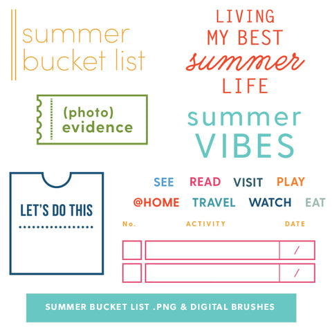 Summer Bucket List Digital Files