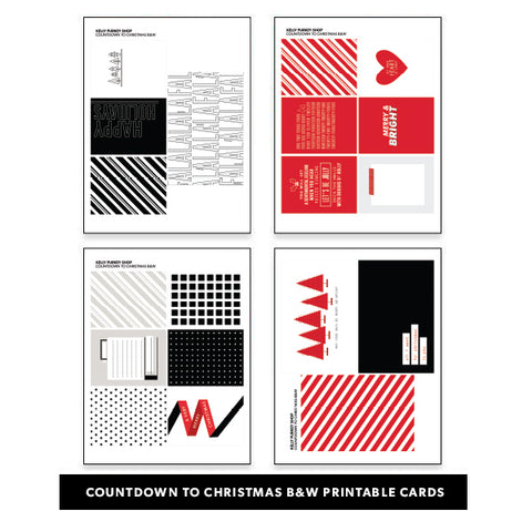 Holiday: Countdown to Christmas B&W Printable Cards