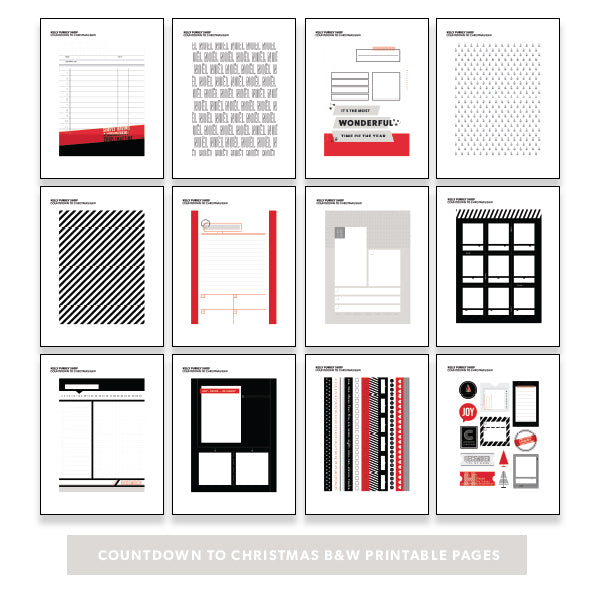 picture about Countdown Printable known as Family vacation: Countdown towards Xmas BW Printable Web pages - Kelly Purkey Store