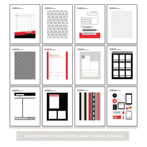 Holiday: Countdown to Christmas B&W Printable Pages