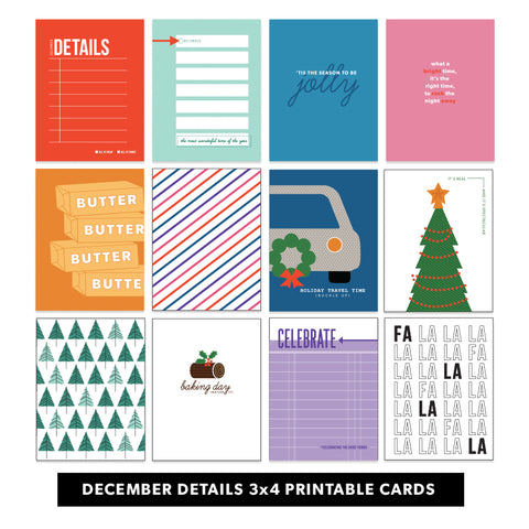 Holiday: December Details 3x4 Printable Cards