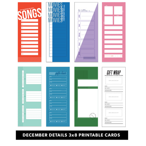 Holiday: December Details 3x8 Printable Pages