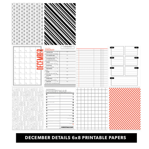 Holiday: December Details BW 6x8 Printable Pages