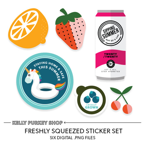 Freshly Squeezed digital sticker set