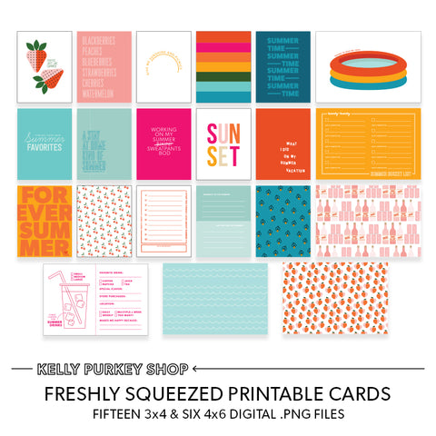 Freshly Squeezed Printable Cards (.png fiiles)