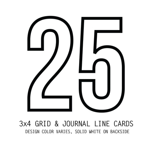 Pack of 25 Grid & Journal Cards