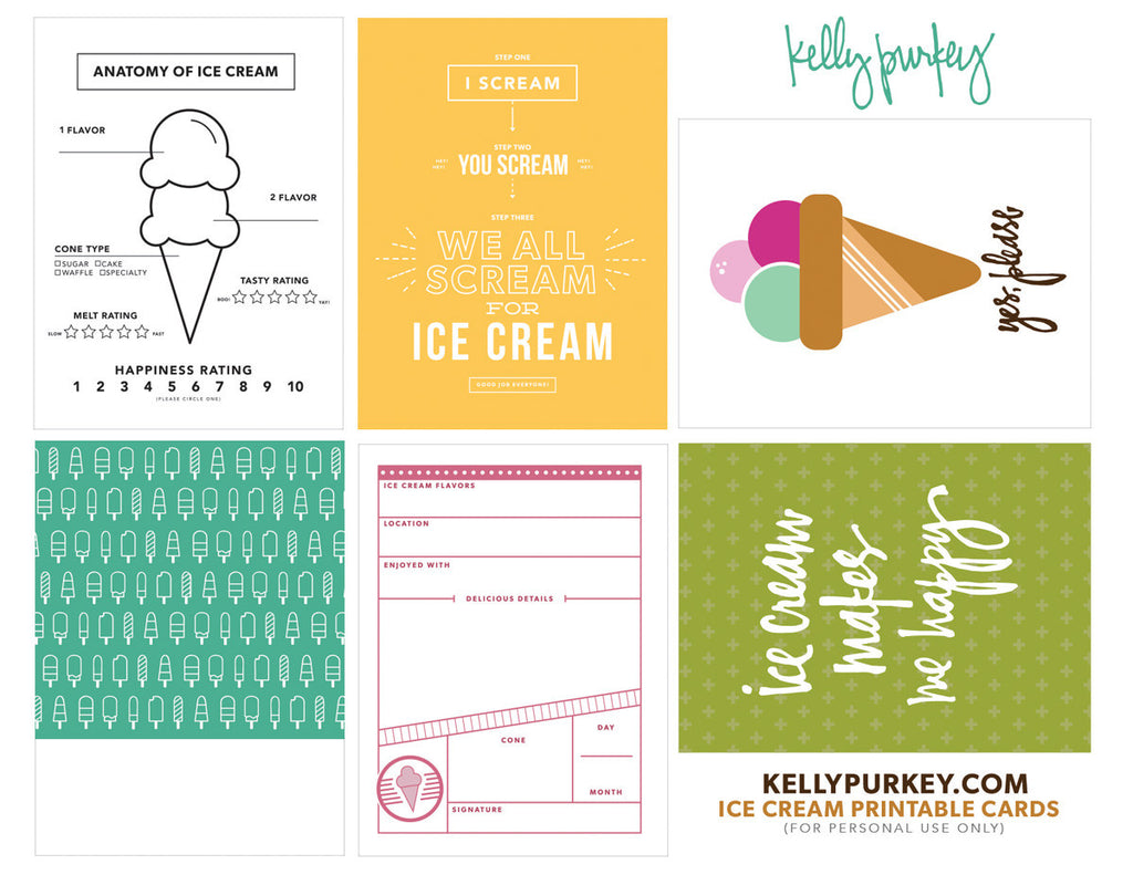 Ice Cream Printable Cards