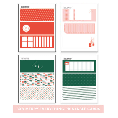 Holiday: 3x8 Merry Everything Printable Cards