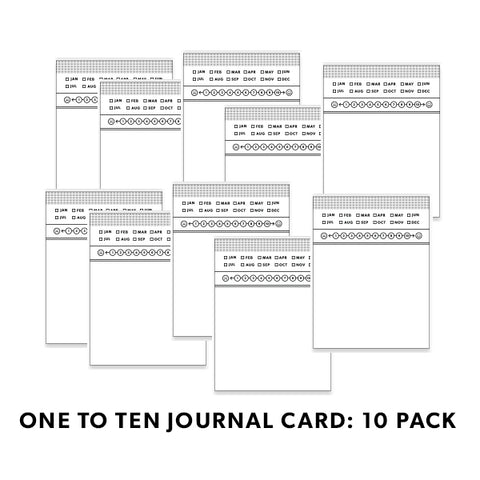 B&W Journal Cards: One to Ten 10 Pack