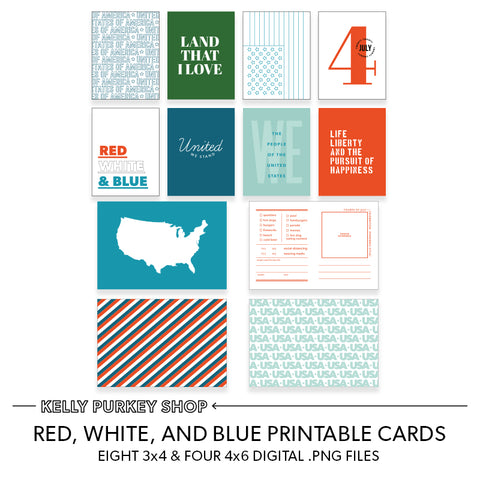 Red, White, and Blue Printable Cards (.png files)