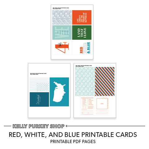 Red, White, and Blue Printable Cards (.pdf pages)