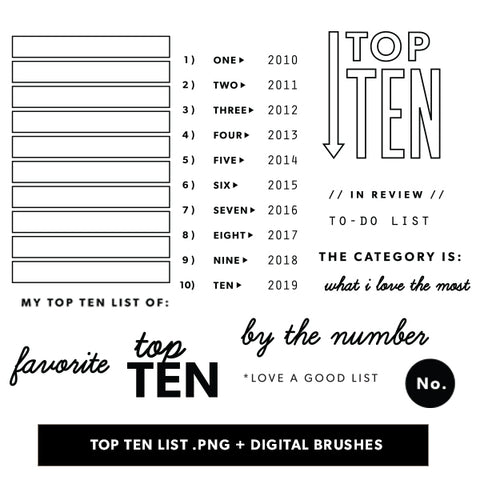 Top Ten List Digital Files
