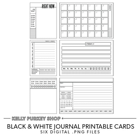 Black & White Journal Printable Cards