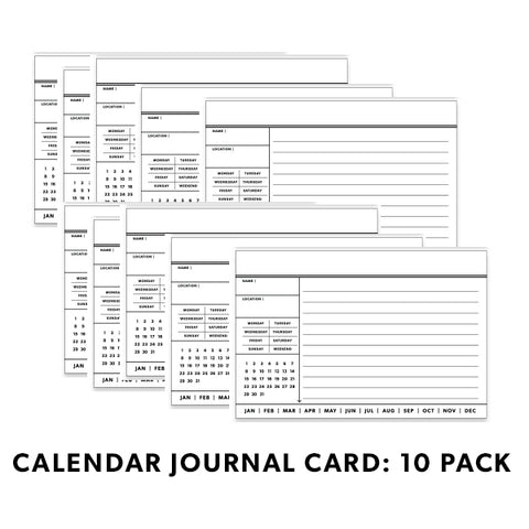 BW Journal Cards: Calendar 10 Pack