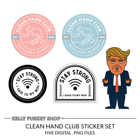 Clean Hands digital sticker set