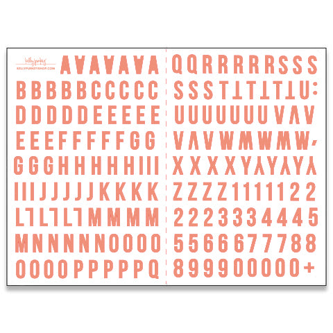 6x8 Coral Alphabet Stickers