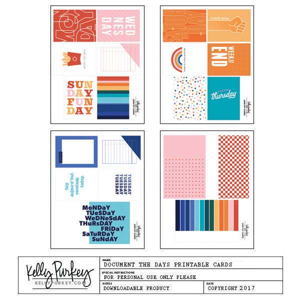 Document the Days Printable Cards