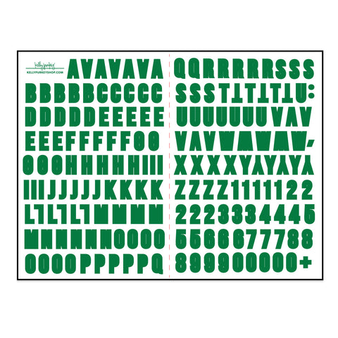 6x8 Kelly Green Alphabet Stickers