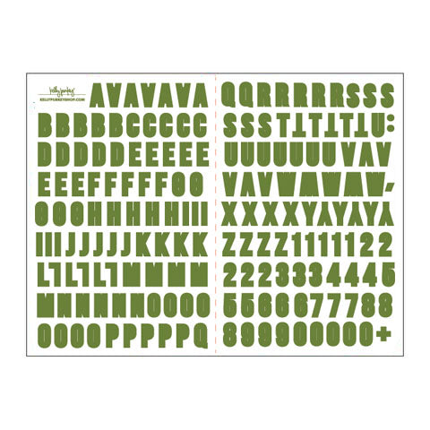 6x8 Leaf Green Alphabet Stickers