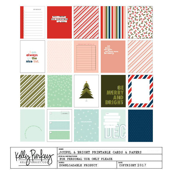 Joyful & Bright Printable Cards & Papers