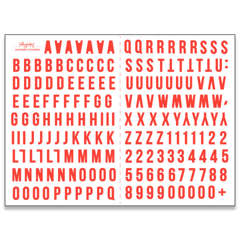 6x8 Red Alphabet Stickers