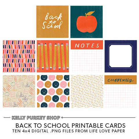 Back to School Printable Cards