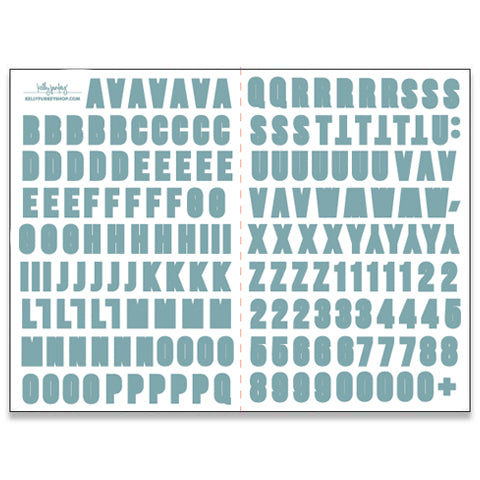 Sky Blue Alphabet Stickers